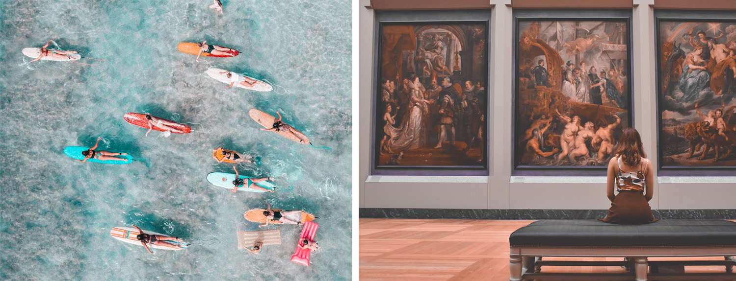 left, blue sea waters filled with people on brightly coloured surfboards paddling contently, right woman sites alone in art gallery on a bench facing three large oil paintings
