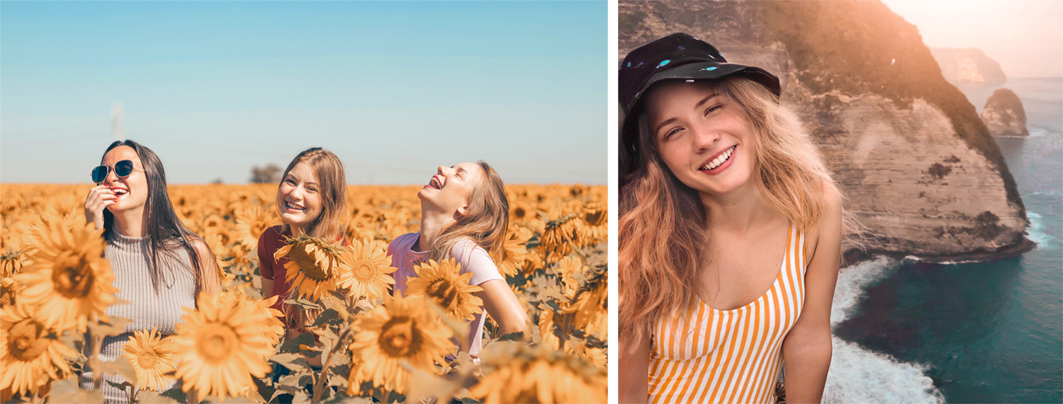 left, 3 girls in a field of yellow sunflowers laughing contently. right: girl sits, makeup free in yellow striped swimsuit and sunhat smiling with a backdrop of the cliffs on overlooking the sea below